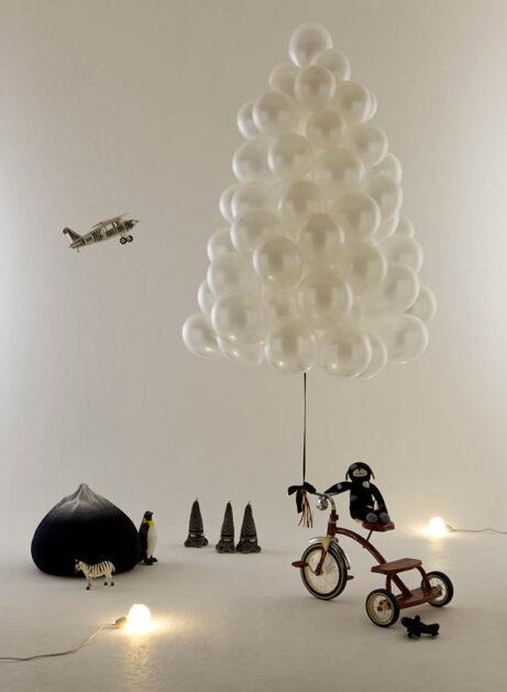 brad de craciun baloane